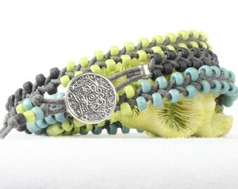 Boho bracelet, Braided wrap bracelet, Seed bead bracelet, Silver button, CarolMade Bw15