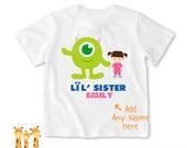 Little sister shirt Disney monster - Personalized Little brother Shirt or Bodysuit - 056_BB_2C_disney monster04