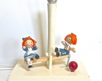 Raggedy Ann/Andy See-Saw Lamp Musical/Mechanical Movement, Wooden Nursery Rhyme Lamp