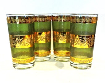 Vintage Libbey Highball/Tumbler Starlyte Set of 4 Green and Gold, Mid Century Drink Ware