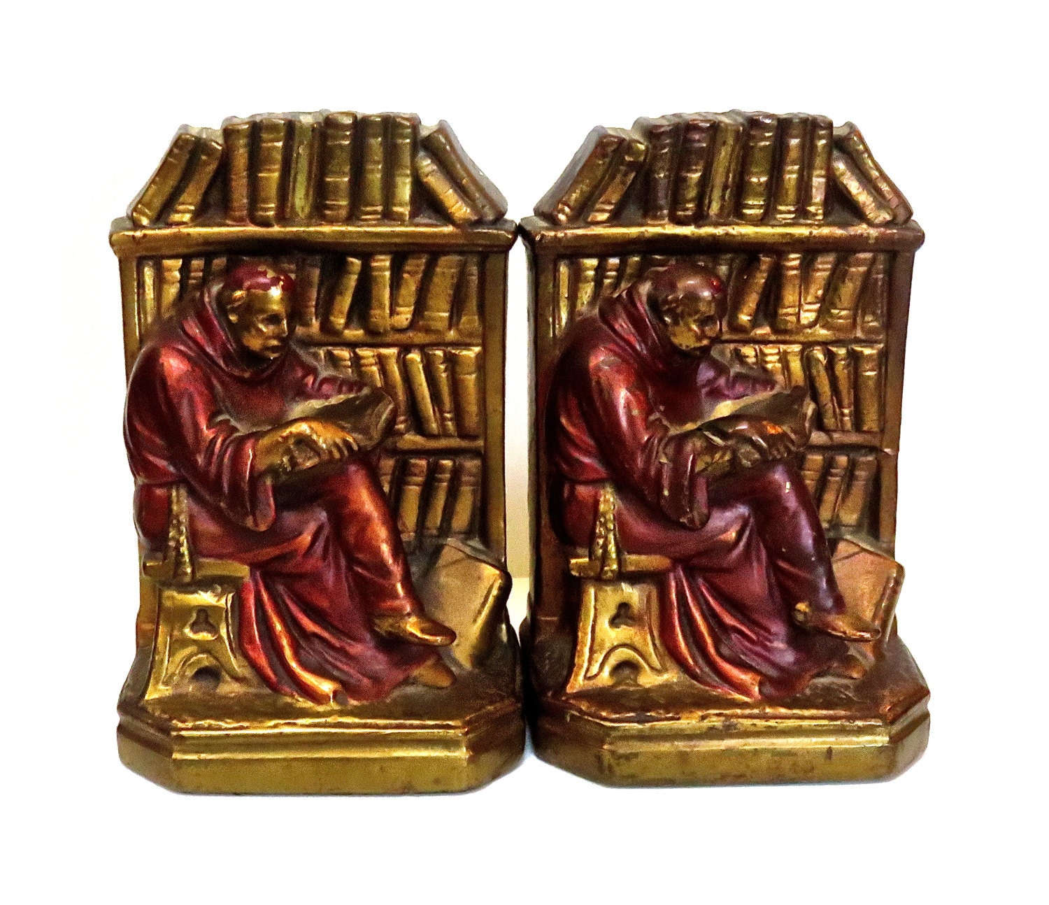 Vintage armor bronzed bookends religious monk reading in - Armor bronze bookends ...