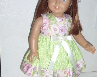 """18"""" Doll Dress with Matching Hat  Fits American Girl, Madame Alexander and Gotz and Our Generation Dolls"""