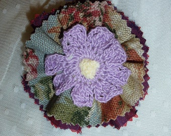 Fabric Brooch with Crocheted  Center Flower