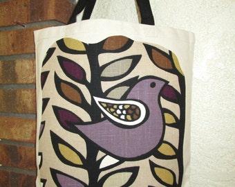 Primitive Bird Bag Large Tote Canvas