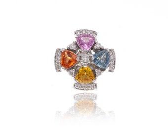 Multicolor Fancy Rainbow Sapphire & Diamond Pendant 18K Gold (1.91ct tw) SKU: 9508