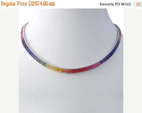 Valentines Day Sale Multicolor Rainbow Sapphire Invisible Set Double Row Tennis Necklace 14K White Gold (43ct tw) SKU:  415-14K-Wg
