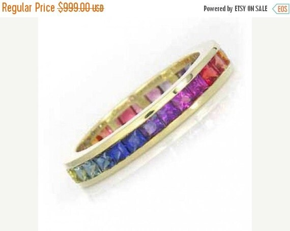 Valentines Day Sale Multicolor Rainbow Sapphire Eternity Band Ring 18k Yellow Gold (4ct tw) : sku R2045-18k-yg
