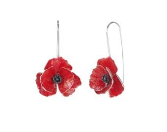 Red sterling silver dangle poppy earrings