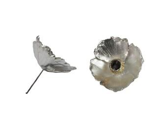 Sterling silver poppy stud earrings
