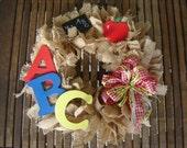 School Days Burlap Wreath