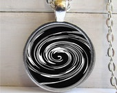 Spiral Pendant, Spiral Necklace, Spiral Jewelry, Black and White Spiral