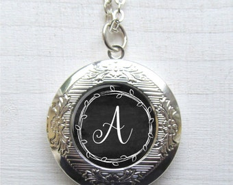 Personalized Locket, Custom Monogram Necklace, Photo Locket
