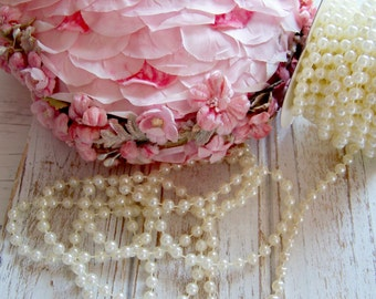 Cream Pearls by the Yard, Faux Pearls, Faux Pearl Trim, Pearls, Shabby and Chic Supplies, Cream Pearls, Romantic Pearls, Craft Pearl Trims