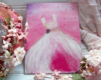 Acrylic Dress Painting, Acrylic Paintings, Dress Paintings, Shabby Style Paintings, Shabby Style Art, Pink Dress Paintings, Pink Art