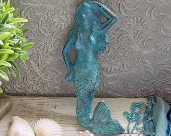 Seaside Cast Iron Mermaid, Cast Iron Mermaid, Mermaids, Nautical Decor, Beach Decor, Beach House, Metal Mermaids, Blue Mermaids, Whimsical