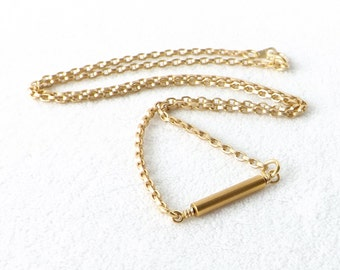 Bar Necklace, Gold Bar Necklace, Minimalist Necklace, Layering Necklace, Matte Gold Necklace, Everyday Jewelry, Simple Necklace, Gift