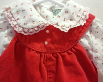 Vintage Tiny Tots red velvet two piece outfit, size 3-6 months