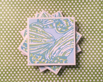 SALE Coasters Lilly Pulitzer Shells, Blue, Green, White, Pattern, Felt-Backed Tile Set of Four