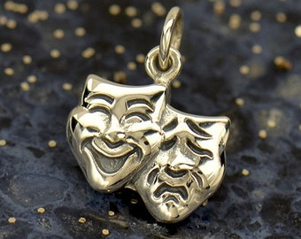 Sterling Silver Theater Mask Charm - Comedy and Tragedy