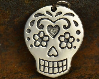 Sterling Silver Large Mexican Sugar Skull Charm