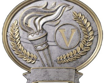 Victory Torch Pewter Oval Plaque