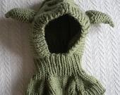 Hand Knitted Toddler Yoda Hat/Balaclava