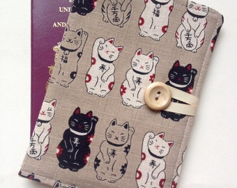 Passport cover case cute happy cat lucky cat fabric wooden button