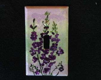 Purple Flowers Light Switch Plate