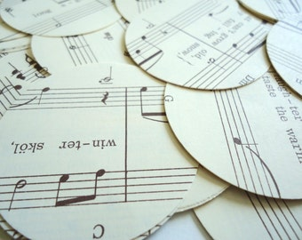 """100 2"""" 2 Inch Circles Paper Punch Sheet Music Double Sided One Hundred Hand Punched"""