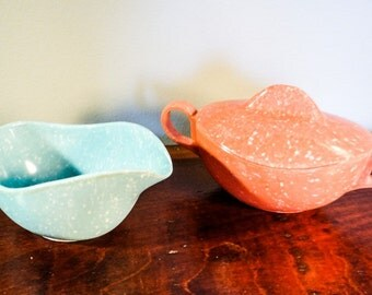 Vintage Melamine Melmac, speckled aqua and coral, cream and sugar set