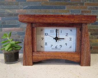 Mantel Clock, Wood Clock, Bungalow Clock, Craftsman Clock, Mantle Clock of unknown wood, Desk Clock