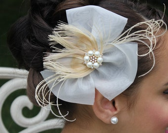 Ivory Peacock Feather Hair Bow Clip