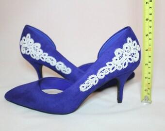 Royal Blue Lace Bridal shoes 7.5