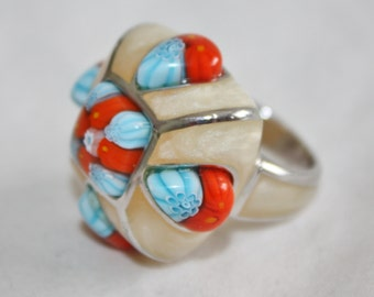 Vintage Alan K Sterling Modernist Ring Murano Glass Millefiori Jewelry