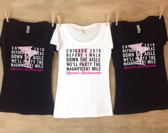 Chicago Magnificent Mile Bachelorette Party Shirt Set // Party Shirts // Girls weekend - JH
