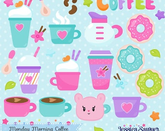 INSTANT DOWNLOAD, coffee clipart and vectors for personal and commercial use