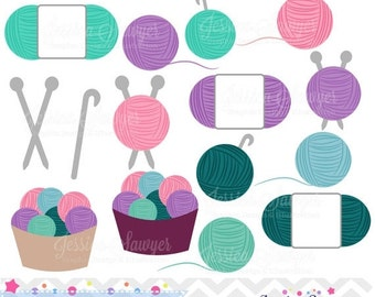 80% OFF - INSTANT DOWNLOAD, crochet and knitting clipart for commercial or personal use, logos, scrapbooking, and crafts