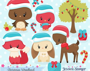 INSTANT DOWNLOAD, christmas woodland clipart and vectors for personal and commercial use