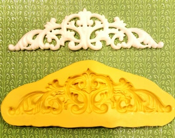 Scroll Crown Silicone Mold , 6 inches long