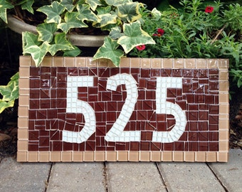 Brown Address Sign, Mosaic House Numbers