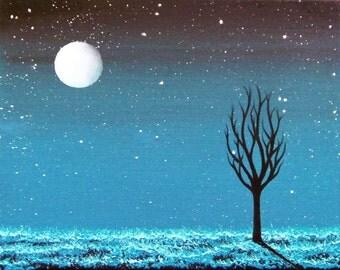Art Print of Dreamy Blue Night Scene, Starry Night Sky Blue Landscape Print, Starry Sky Dreamscape, Moon Print, Lunar Art, Unique Wall Art
