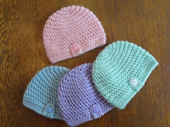 Herringbone Stitch Knit Hat Pattern : Crochet Baby Beanie PATTERN Herringbone Button Baby Beanie Hat Newborn Preemi...