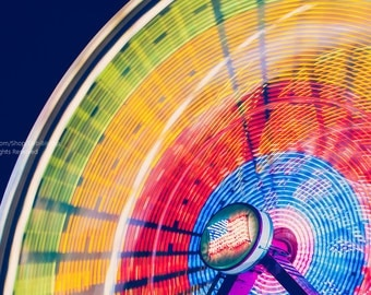 Carnival Ferris Wheel With American Flag In Lights -Colorful Lights Motion Blur -Fine Art Photo -Kids Bedroom Wall Art Decor -Blue & Yellow