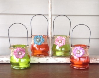 4 Embellished Hanging Glass Tea Light Lanterns - Orange & Green Glass Candle Holders