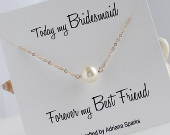 Bridesmaid Gift, Solitaire Pearl Necklace, Bridesmaid Necklace, Bridesmaid Card,  Bridal party Gift, Bridal Jewelry
