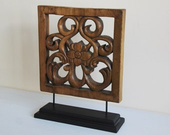 SALE - Bohemian Wood Carving - Gorgeous Vintage Wooden Carved Sculpture on Stand - Statement Piece