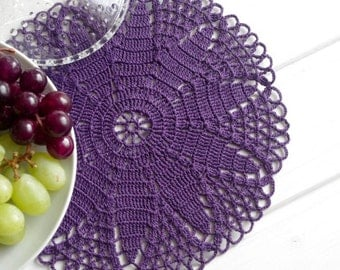 "Crochet doily Purple lace doily Handmade cotton crochet doilies Purple doilies crochet Flower doily 9"" crochet doily 320"