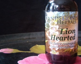 LionHearted: for fierce courage & heart protection with Motherwort, Honey, and homemade flower essences of Rose, Bleeding Heart, + Hawthorn