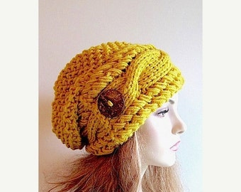 SALE Mustard Gold Slouchy Beanie Slouch Cable Hats Oversized Baggy Yellow Beret Button womens fall winter accessory Chunky Hand Made Knit