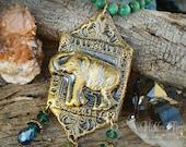 Elephant Buddha Necklace- handmade OOAK polymer clay pendant green malachite jade gemstone jewelry